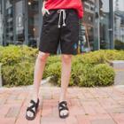 Drawstring-waist Palm-tree Embroidered Shorts