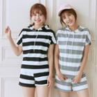 Set: Hooded Striped Top + Shorts