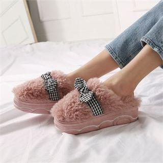 Bow-accent Faux-fur Slippers