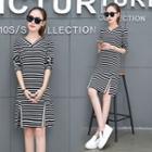 Slit Front Striped T-shirt Dress