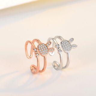 925 Sterling Silver Rhinestone Rabbit Layered Open Ring