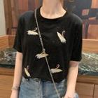 Embroidered Swan Short-sleeve T-shirt