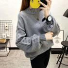 Lantern Sleeve Mock Collar Sweater