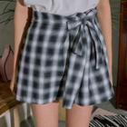 Tie-waist Plaid Mini Skirt