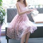 Feather Applique Sleeveless Dress