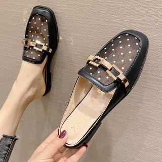 Mesh Dotted Mules
