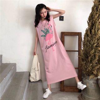 Flamingo Print Midi Tank Dress