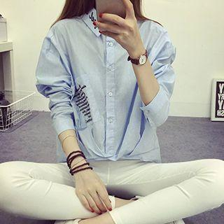 Letter Embroidered Shirt