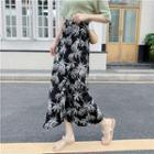 Printed Chiffon Midi Wrap Skirt / Paneled Printed T-shirt