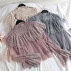 Set: Lace Panel Blouse + Camisole