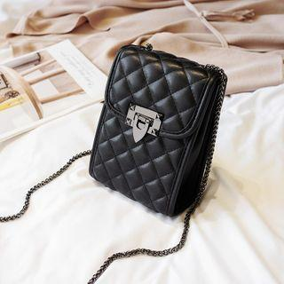 Quilted Flap Crossbody Bag Rhombus - Black - One Size