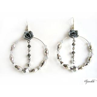 Grey Floral Crystals Earrings