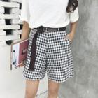 Gingham Shorts With Belt