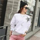 Distressed Star Print Sweatshirt