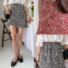 Ruffle-trim Floral Miniskirt