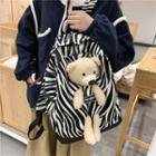 Bear Accent Patterned Backpack
