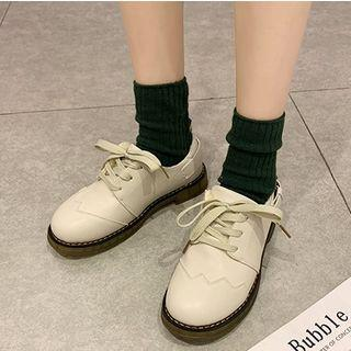Fleece-lined Contrast Trim Lace-up Shoes