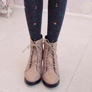 Faux-leather Lace-up Ankle Boots