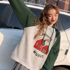 Color Block Printed Hoodie As Shown In Figure - One Size
