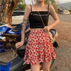 Lettering Camisole / Floral Print Skirt