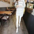 Round-neck Striped Long T-shirt