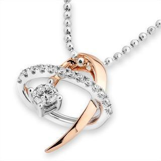 18ct Rose White Gold Diamond Accent Swirling Shooting Star Pendant Necklace (0.22 Cttw) (free 925 Silver Box Chain, 16)