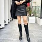Pocket-side Pleather Miniskirt