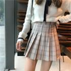 Plaid High Waist Pleated Mini Skirt