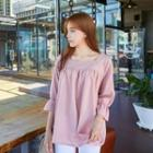 Square-neck Frill-sleeve Top