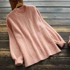 Plain Long-sleeve Cable-knit Top