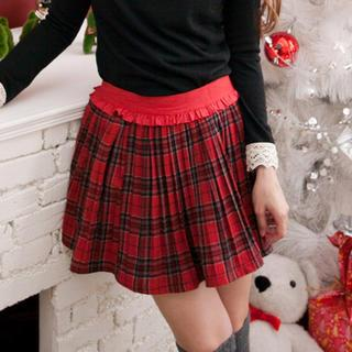 Frill-trim Plaid Pleated Skirt