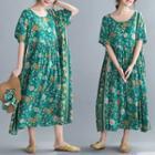 Floral Round-neck Panel Short-sleeve Dress