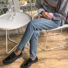 Washed Side Slit Jeans