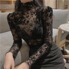 Mock-turtleneck Long-steve Lace Top Black - One Size