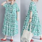 Short-sleeve Leaf Print A-line Midi Dress