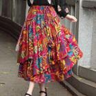 Layered Printed Midi Skirt