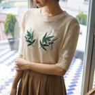 Elbow-sleeve Flower-embroidered Knit Top
