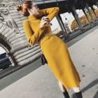 Turtleneck Rib-knit Midi Sweater Dress
