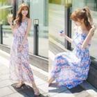 Floral Print Chiffon Strappy Dress