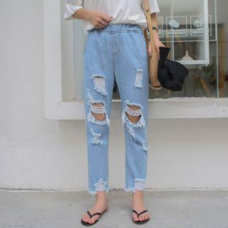 Elastic Waist Ripped Cropped Jeans