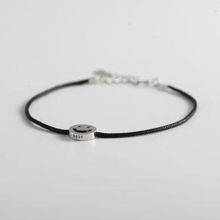 Smiley Face Bracelet 925 Silver - Black & Silver - One Size