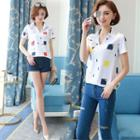 Short-sleeve Geometric Print Chiffon Shirt
