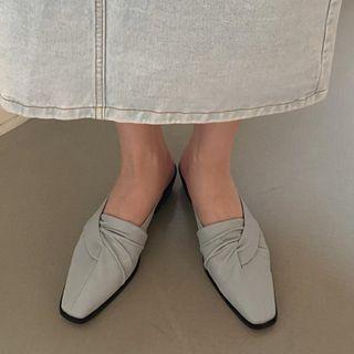 Plain Shirred Chunky Heel Mules