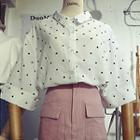 Polka Dot Elbow-sleeve Shirt