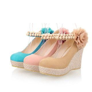 Faux-suede Flower Wedge Sandals