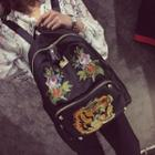 Embroidered Studded Backpack