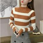 Long-sleeve Striped Mock-neck Knit Top
