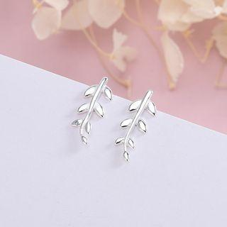 925 Sterling Silver Leaf Stud Earring 1 Pair - Es1049 - Silver - One Size