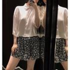 Cropped Button-down Shirt / High-waist Wide-leg Shorts