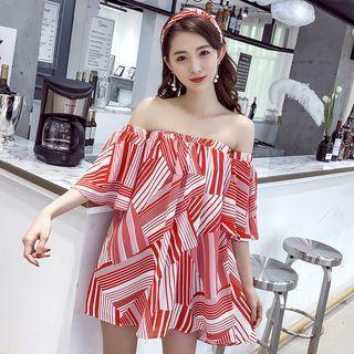 Elbow-sleeve Off Shoulder Printed Mini Dress